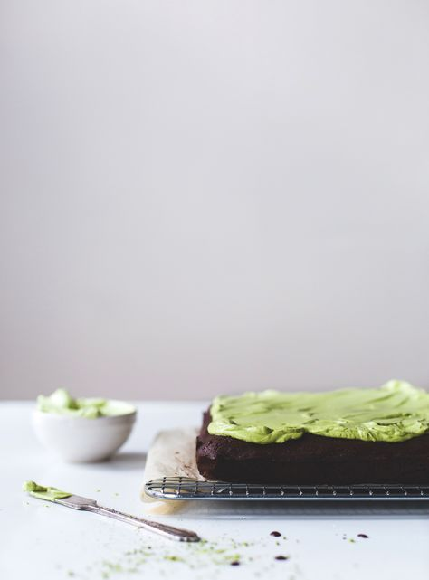 Teff Flour Brownies, made with dark cocoa powder and matcha frosting {gluten-free}