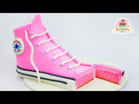 pastel de converse rosa mis pastelitos