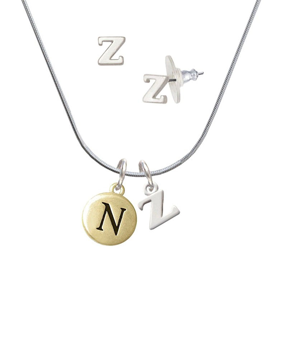 7de30ead5613 Goldtone Capital Letter - N - Pebble Disc - Z Initial Charm Necklace and Stud  Earrings Jewelry Set -- You can get additional details at the image link.