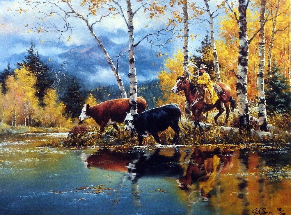 Artist Jack Sorenson Unframed Cowboy Print Grandpa's Helper | WildlifePrints.com
