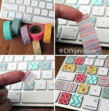 Decorate Your Computer Keyboard Diy Washi Diy Washi Tape
