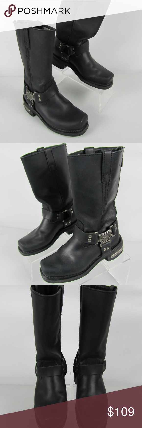 Milwaukee Black Leather Biker Boots Sz