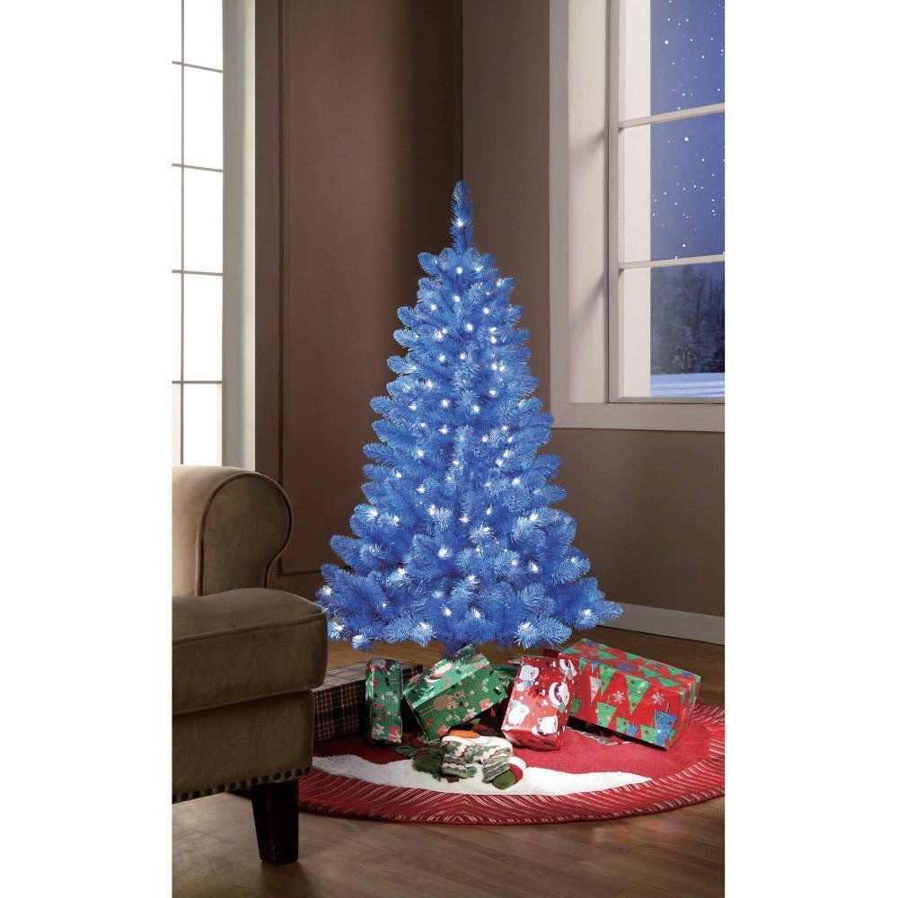 Blue Artificial Christmas Tree Tinsel 4' Clear Lights
