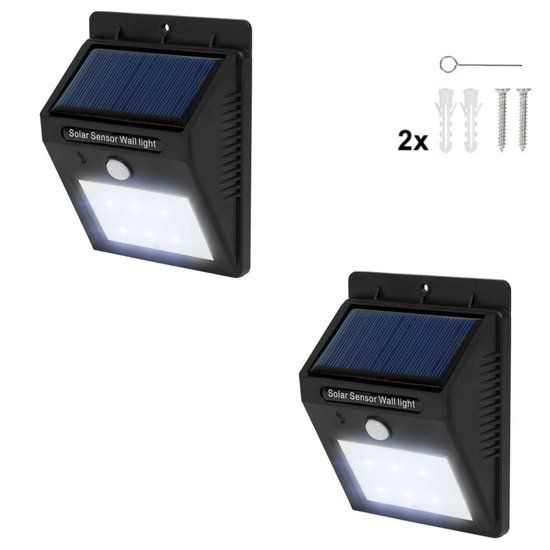 Tectake 2 Led Solar Tuinverlichting Wandlamp Bewegingssensor 401735 Solar Tuinverlichting Tuinverlichting En Led