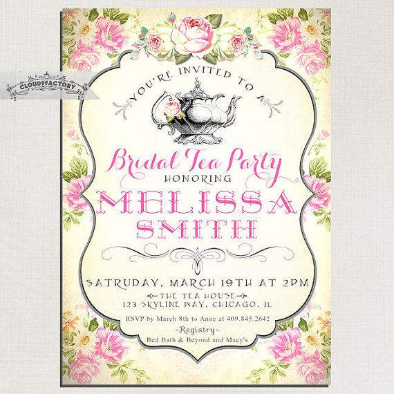 Shabby Chic Paris or Any Occasion Vintage Floral Parisian Invitation Printable or Printed with FREE SHIPPING Bridal Shower Birthday