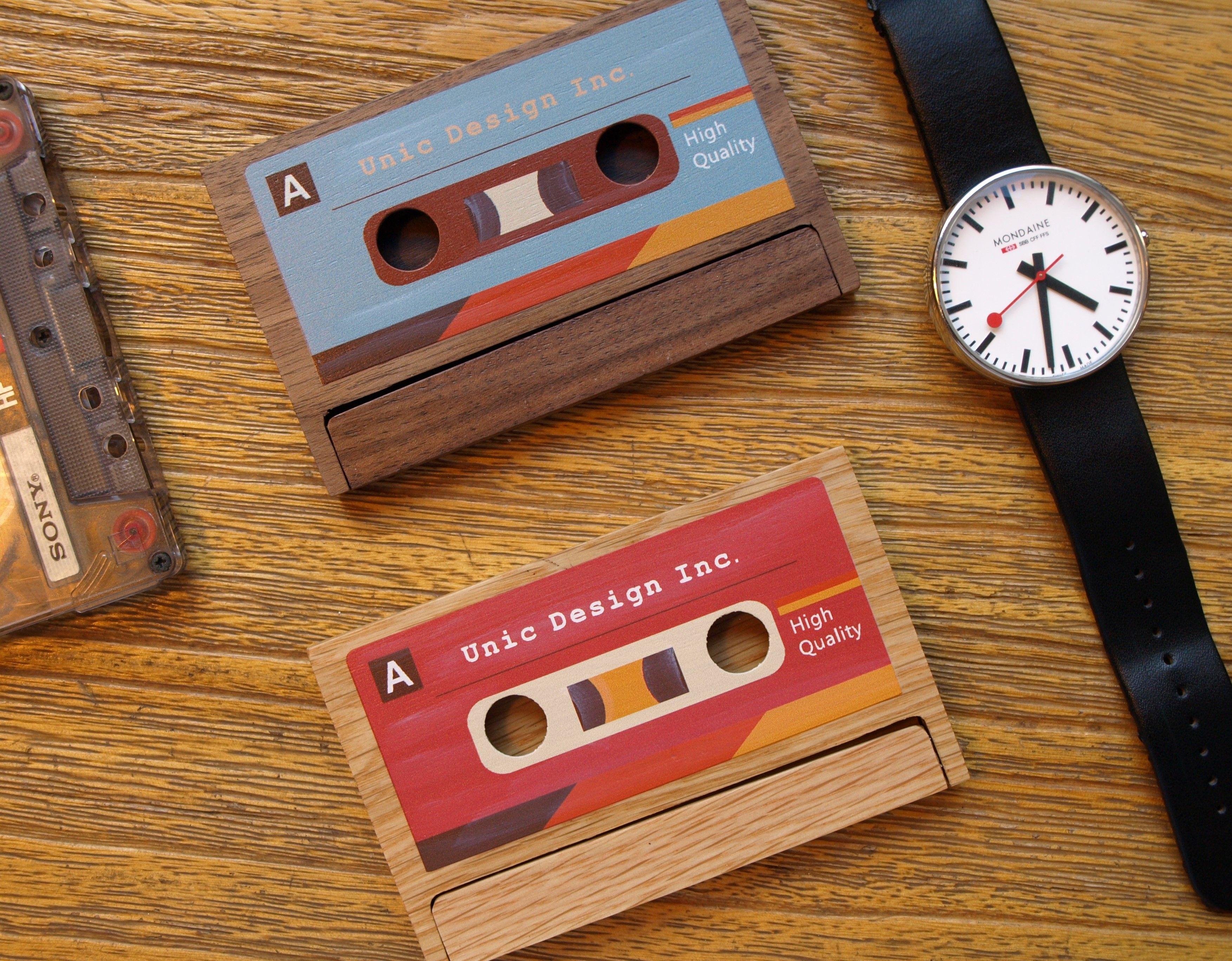 Cassette business card case holder custom engrave