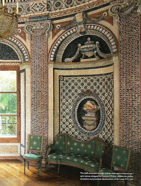 Amazing room. The wall mosaics are done with shells. Be sure to check out the close-ups at Mark Montano's blog!