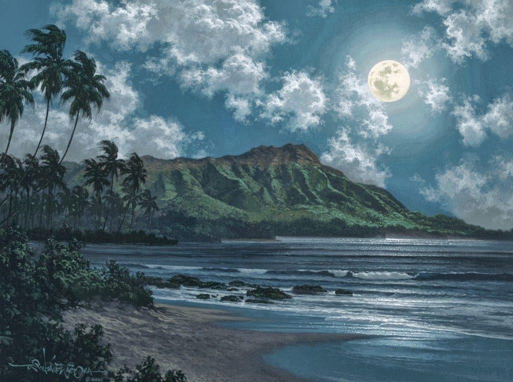 Resultado de imagen de pinturas de paisajes de noche