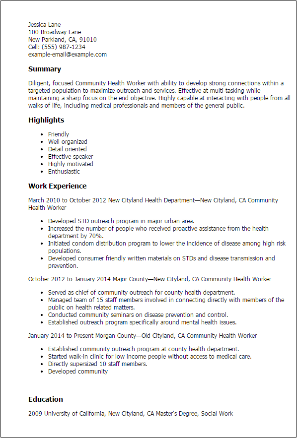 image result for public health resume sample