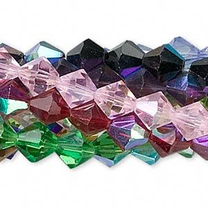 Bead, glass, assorted colors AB, 8mm faceted bicone. Sold per pkg of ten 13-inch strands.