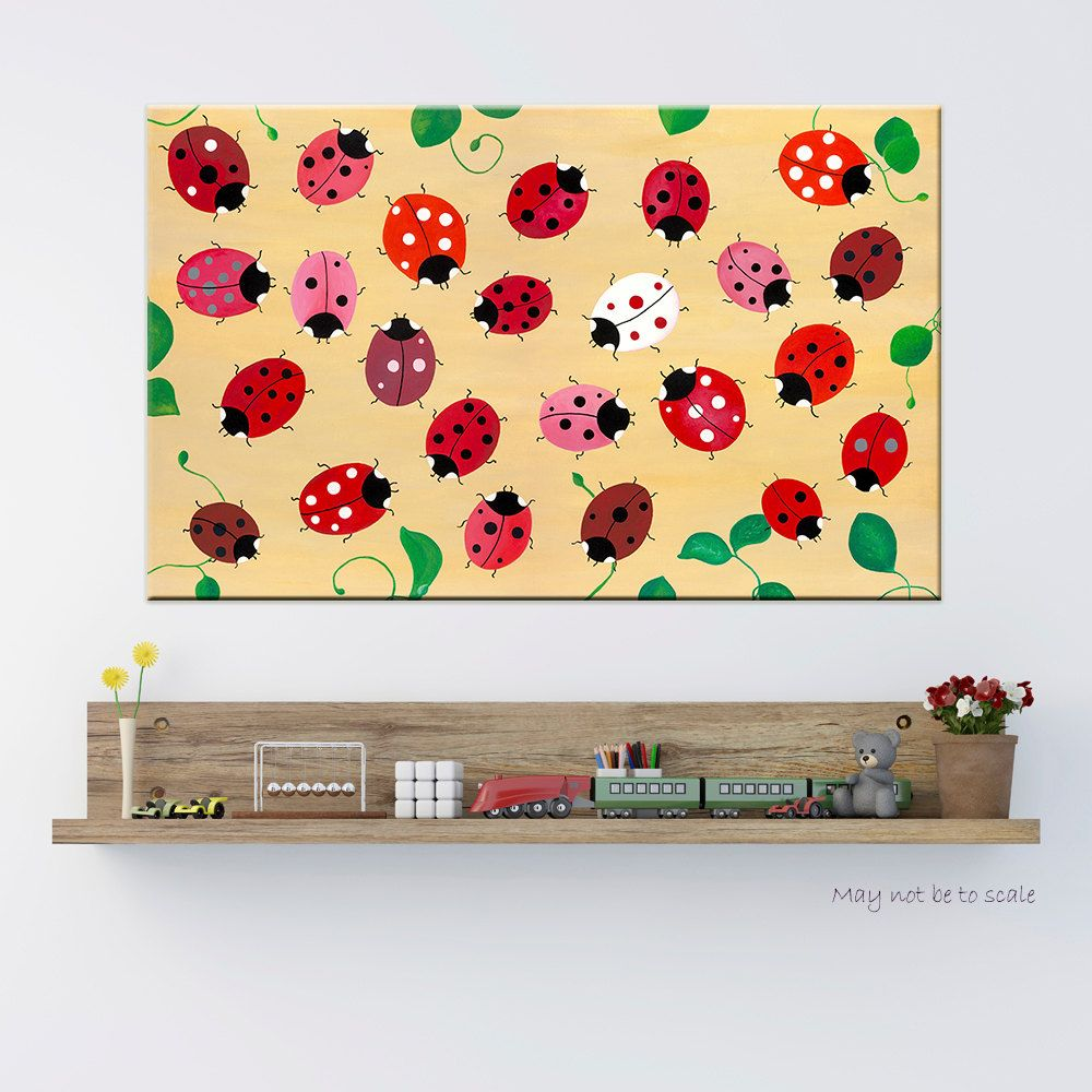 Original Painting Acrylic on Canvas Magic Ladybugs Children Playroom ...