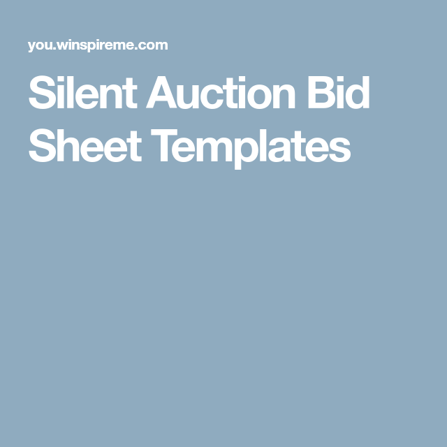 Silent Auction Bid Sheet Templates  Casino Night