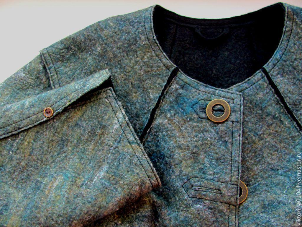 """Купить Пальто укороченное """"Перчинка"""" - пальто валяное, пальто укороченное, Осеннее пальто, однотонный"""