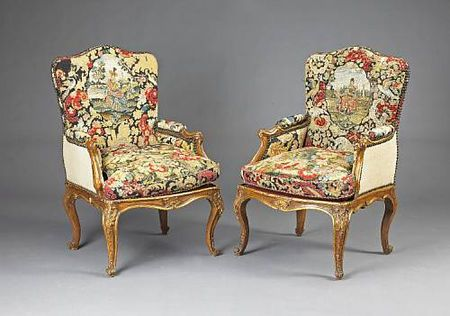 A good Italian Rococo walnut and needlework upholstered suite of seat furniture, third quarter 18th century