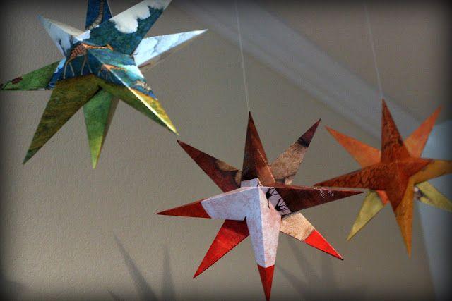 Paper Stars How To Make Hanging Stars Decorations Everyday Reading Hanging Stars Star Decorations Paper Stars