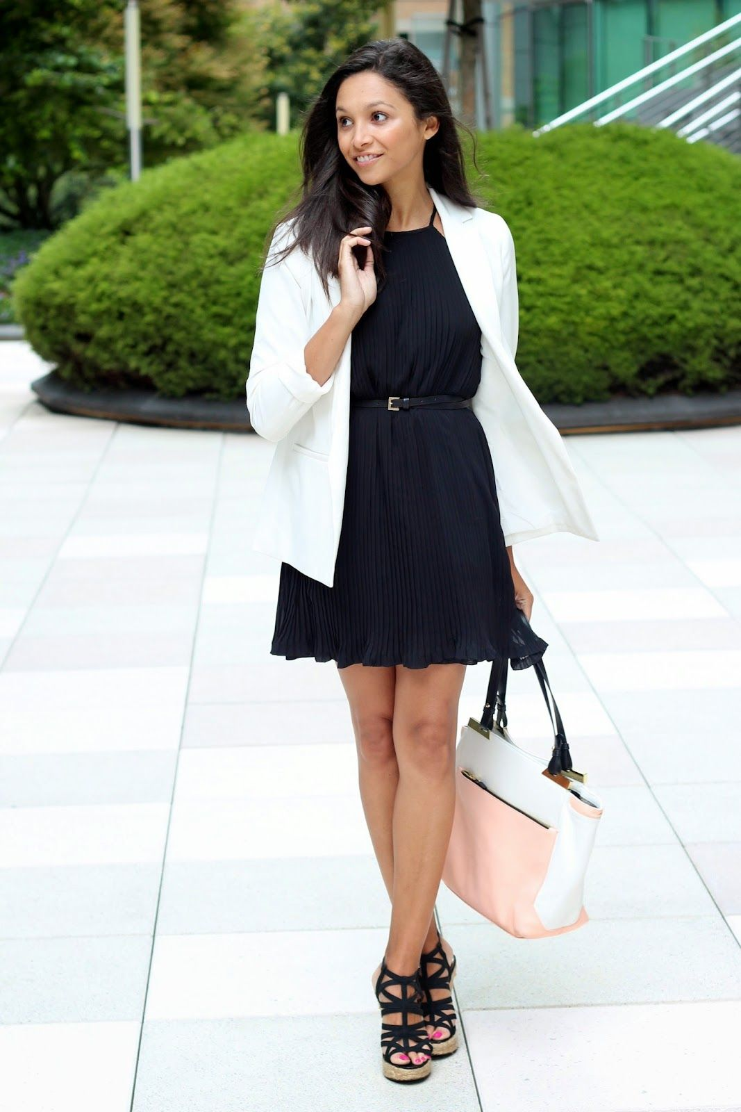 37136ba69fb0a Classic White Blazer, a Little Black Dress, and Statement Wedges make the  perfect date night outfit!