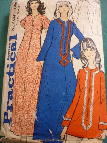 vintage 1960s dress patterns uk | VINTAGE 1960\'S KAFTAN DRESS ...