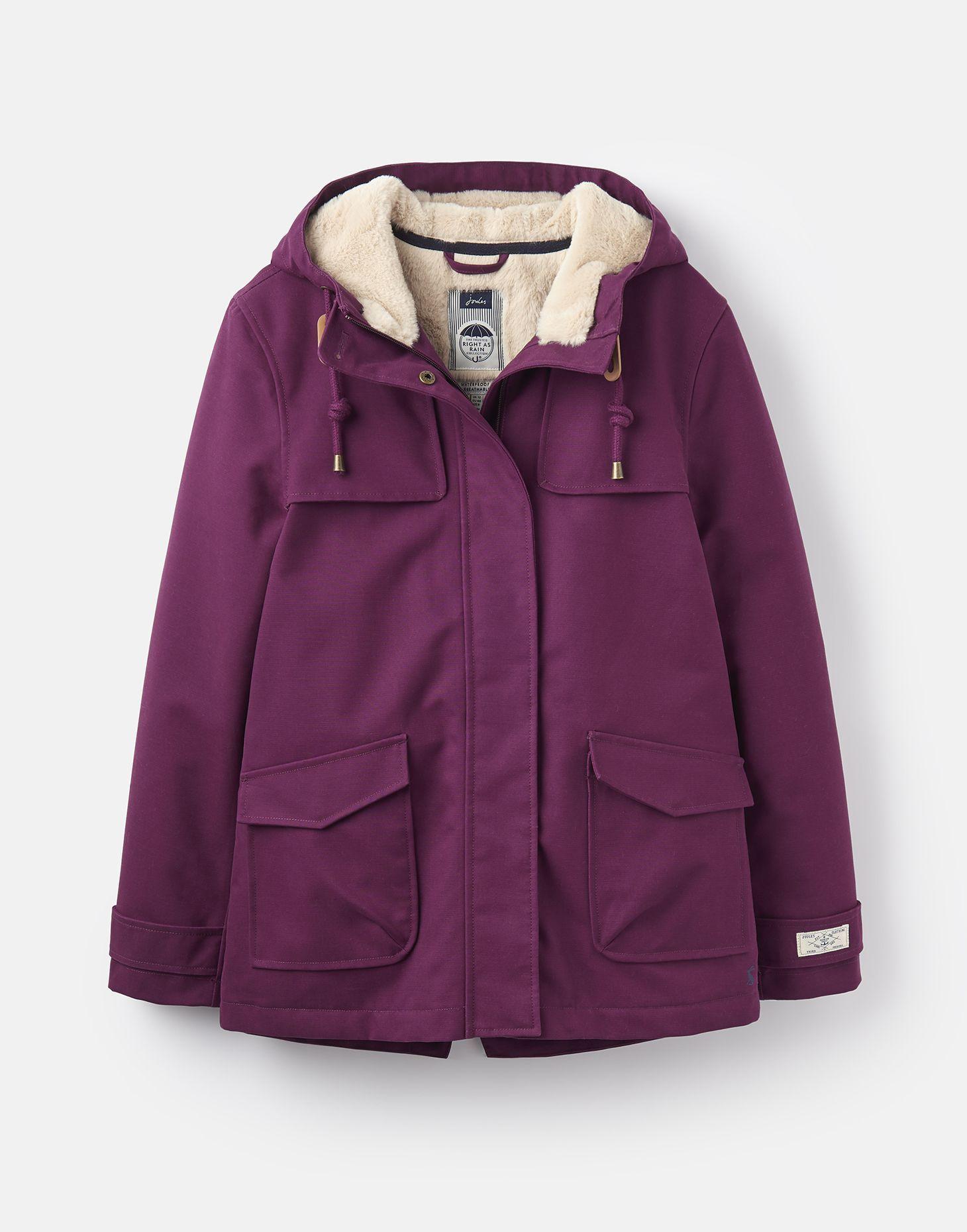 Coast Cosy Italian Plum Sherpa Fleece Lined Waterproof Jacket Joules Us Waterproof Jacket Waterproof Coat Jackets
