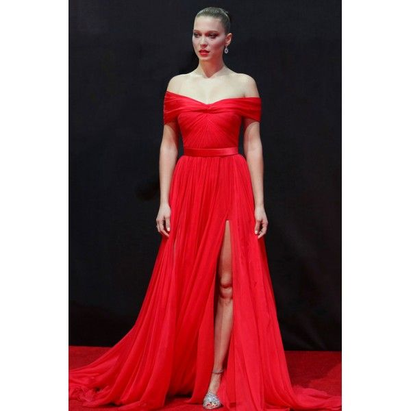 Lea Seydoux Red Off The Shoulder Thigh-split Prom Dress 007 \'Spectre ...