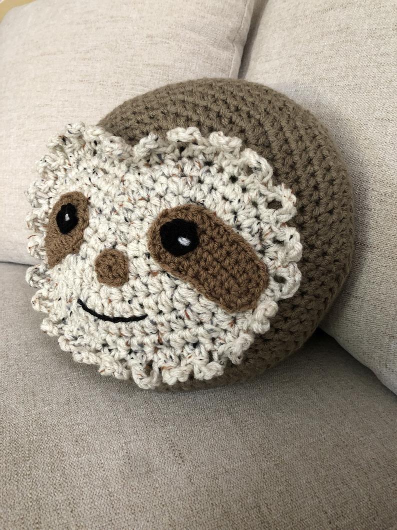 sloth crochet Pillow, Handmade Sloth Pillow, Sloth gift Pillow, Round pillow, decorative pillow