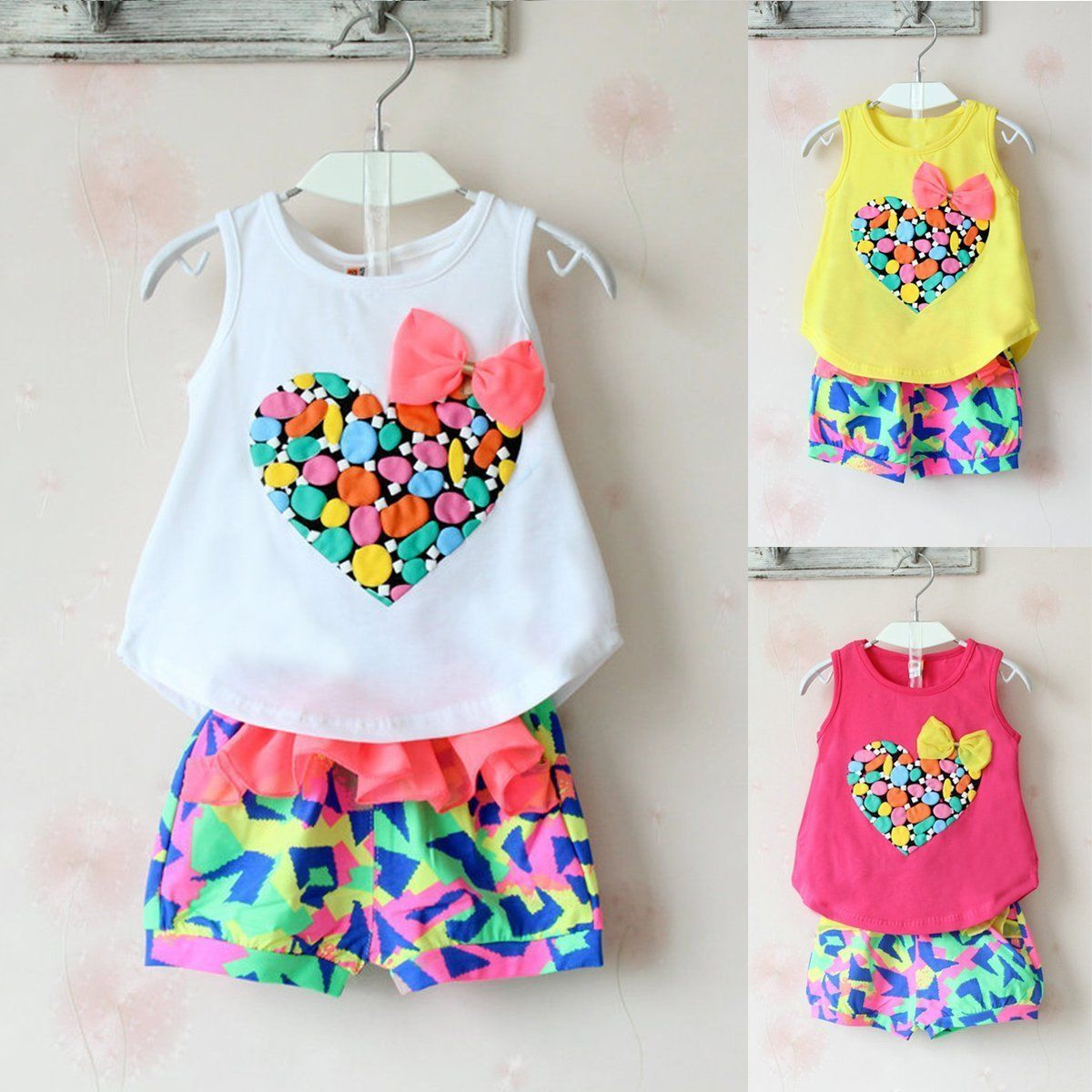 0e76c2019fa3 2Pcs Toddler Kids Baby Girls Summer Clothes T-Shirt Tops+Shorts Pants  Outfit Set #ebay #Fashion