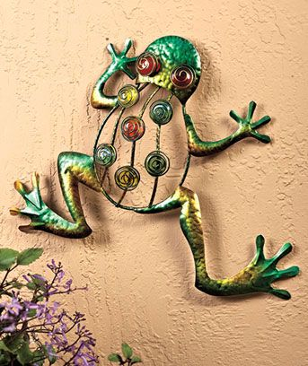 Colorful Frog Outdoor Wall Art Decor Metal + Glass Porch Patio Deck ...