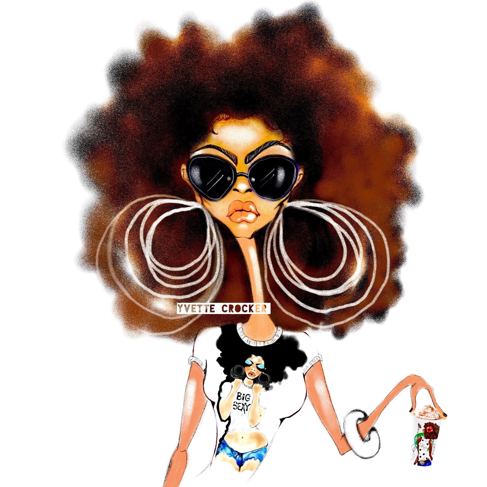 Coffee Afro Art Illustration Yvette Crocker