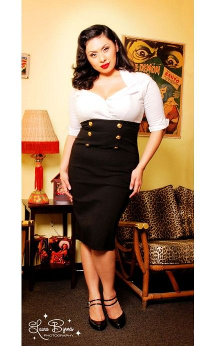 Military Secretary Dress in White and Black - Plus Size - Plus Size ...