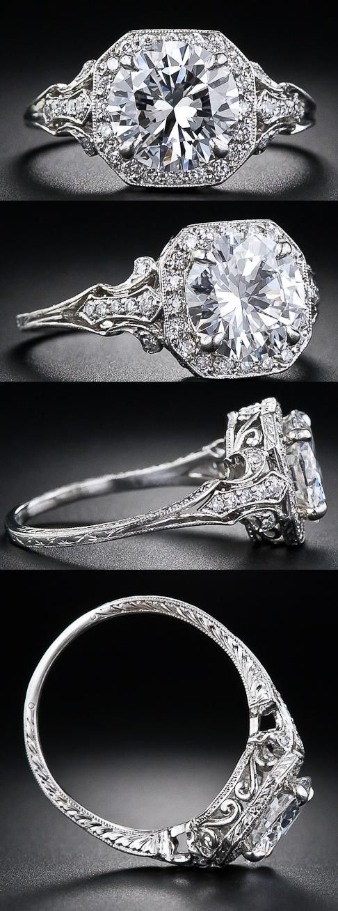 2.17 Carat & D color diamond Edwardian style engagement ring at Lang Antiques. | La Beℓℓe ℳystère