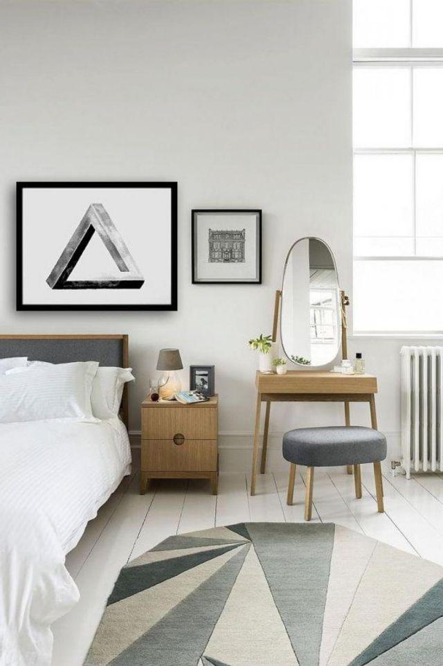 holz schminktisch spiegel schlafzimmer ideen skandinavisches
