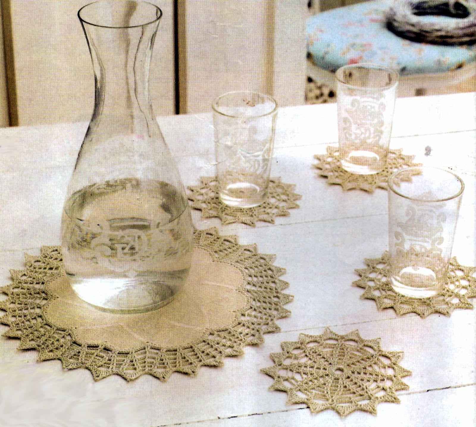 tejidos artesanales: carpeta con puntilla y posavasos tejidos ...