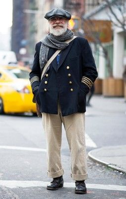 Doug Bihlmaier, Photographed in New York City. That is some navy peacoat for you!