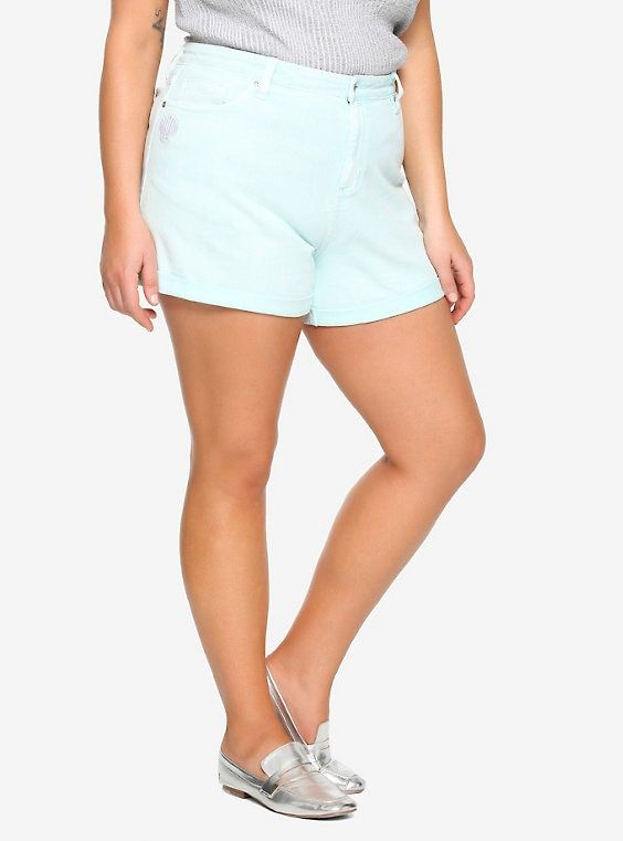 a277071426 Her Universe Disney The Little Mermaid 30th Anniversary Pastel Mint Mom  Shorts Plus Size