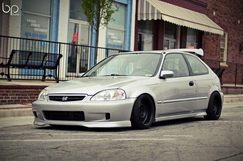 Honda Civic Ek Silver Black Rides Styling Honda Civic Honda Civic Hatchback Civic Hatchback