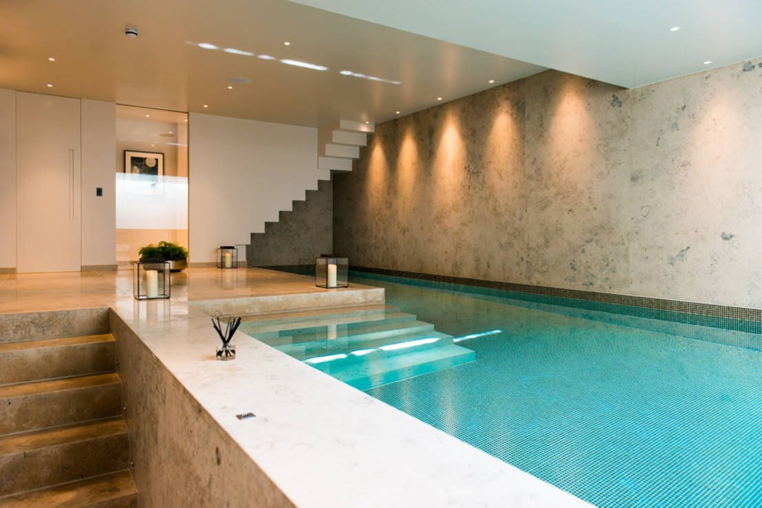 Top 10 the best indoor pools in the uk interior design for Basement swimming pool ideas