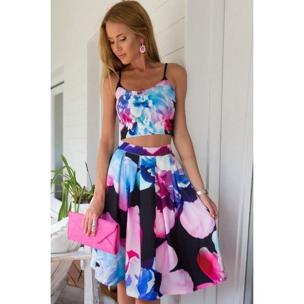 LUCLUC Beach Black Strappy Flower-pattern Dress (41 BAM) via Polyvore featuring dresses