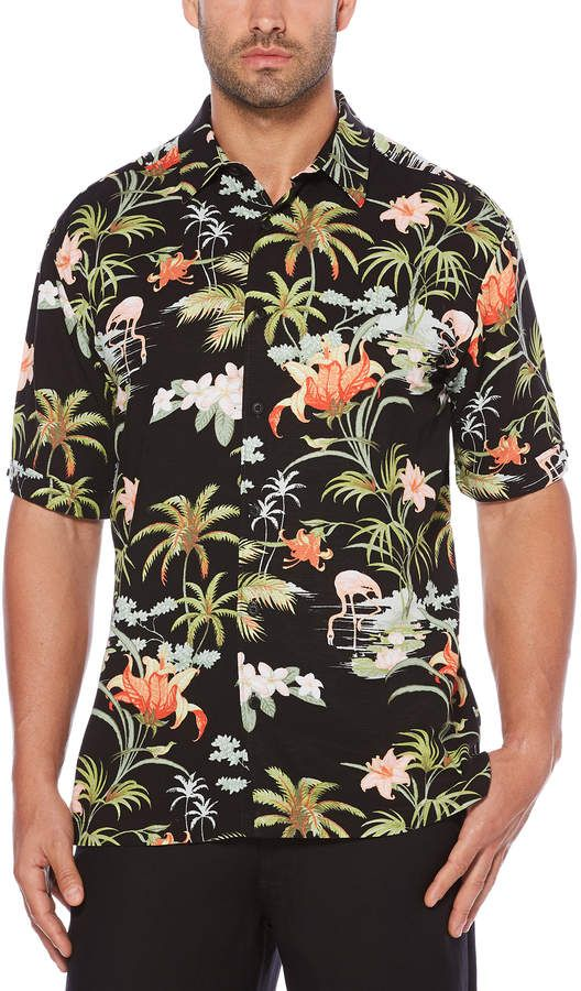 3161fffbd Cubavera Big   Tall Flamingo Tropics Scenic Printed Shirt