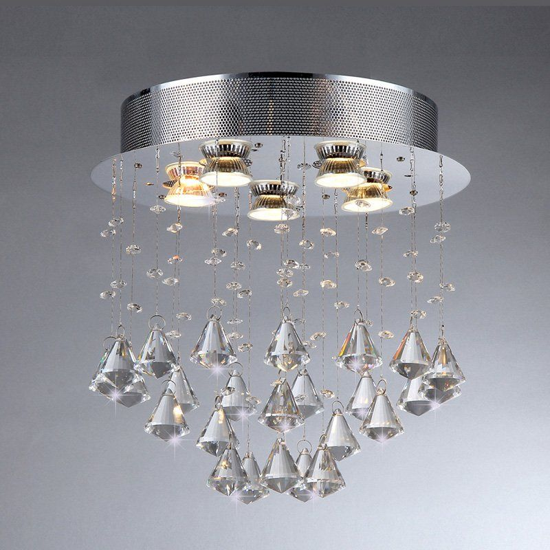 Warehouse Of Tiffany Cerda Crystal Flush Mount Light Modern Luxury Goes Space Aged With The Chandelier