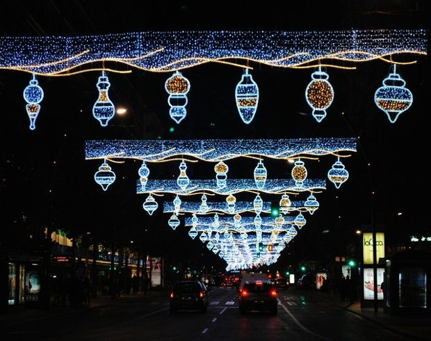 Christmas lights at the Gran Via in the centre of Murcia, Spain.