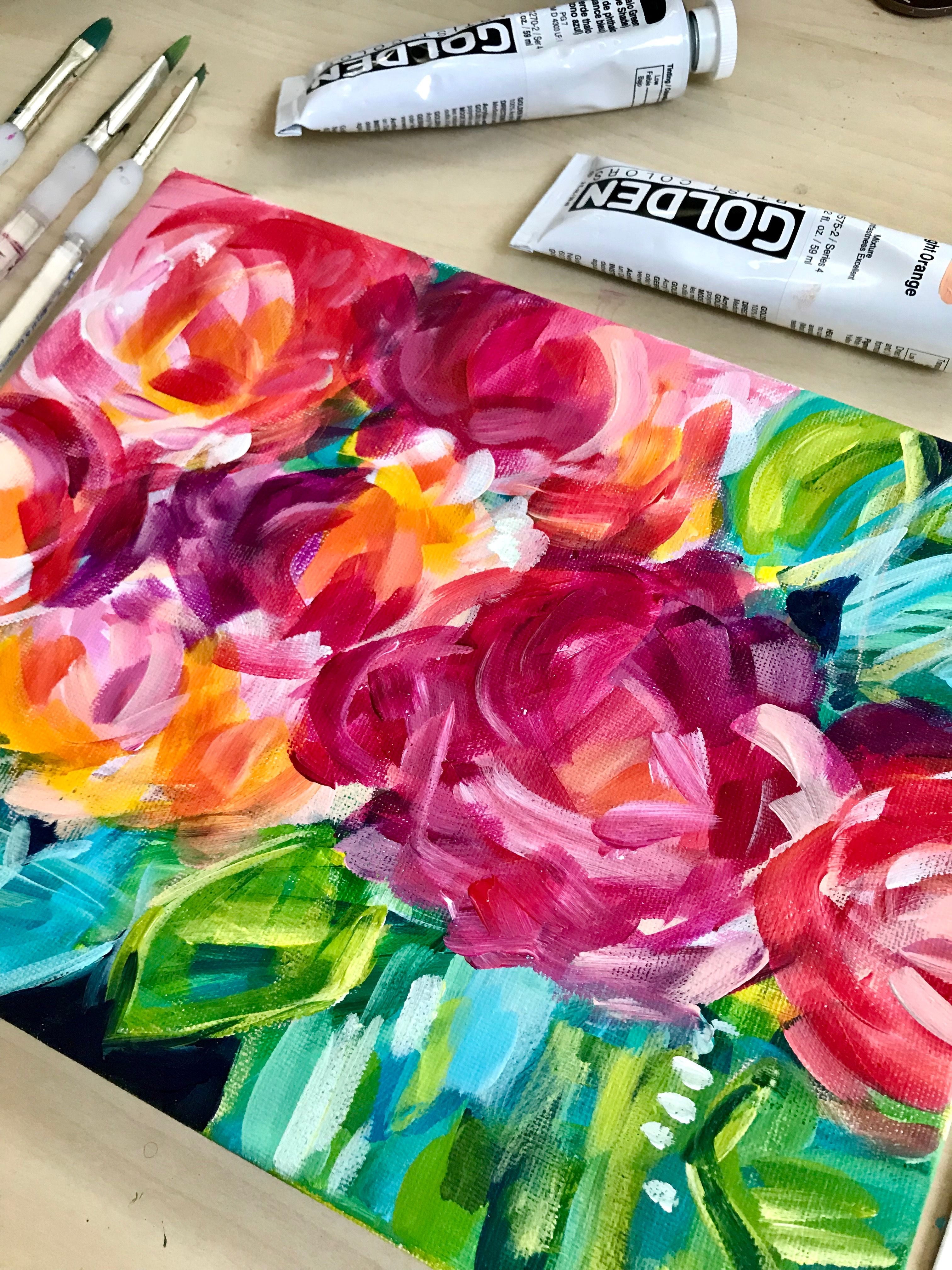 How To Paint Abstract Florals With Acrylic Paint On Canvas Painting For Beginners Ste Abstract Flowers Acrylic Painting Flowers Acrylic Painting For Beginners