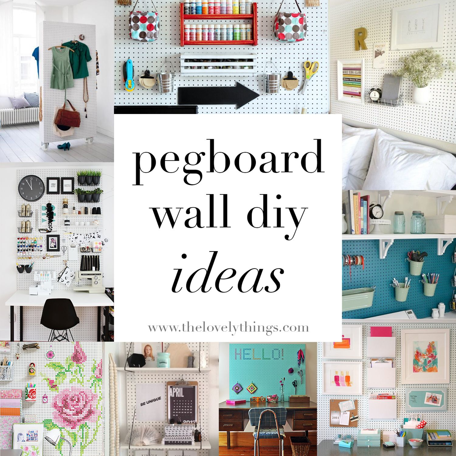 Pegboard Wall Ideas // www.thelovelythings.com