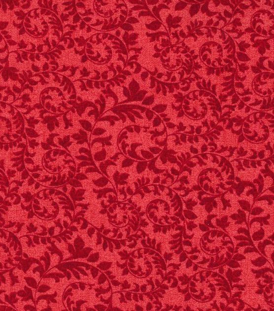 D, S, W Keepsake Calico™ Cotton Fabric-Swirling Vines Red