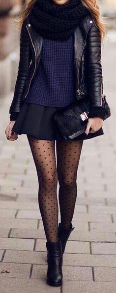 winter outfit / Purple Top , Black Skirt skirtoutfits