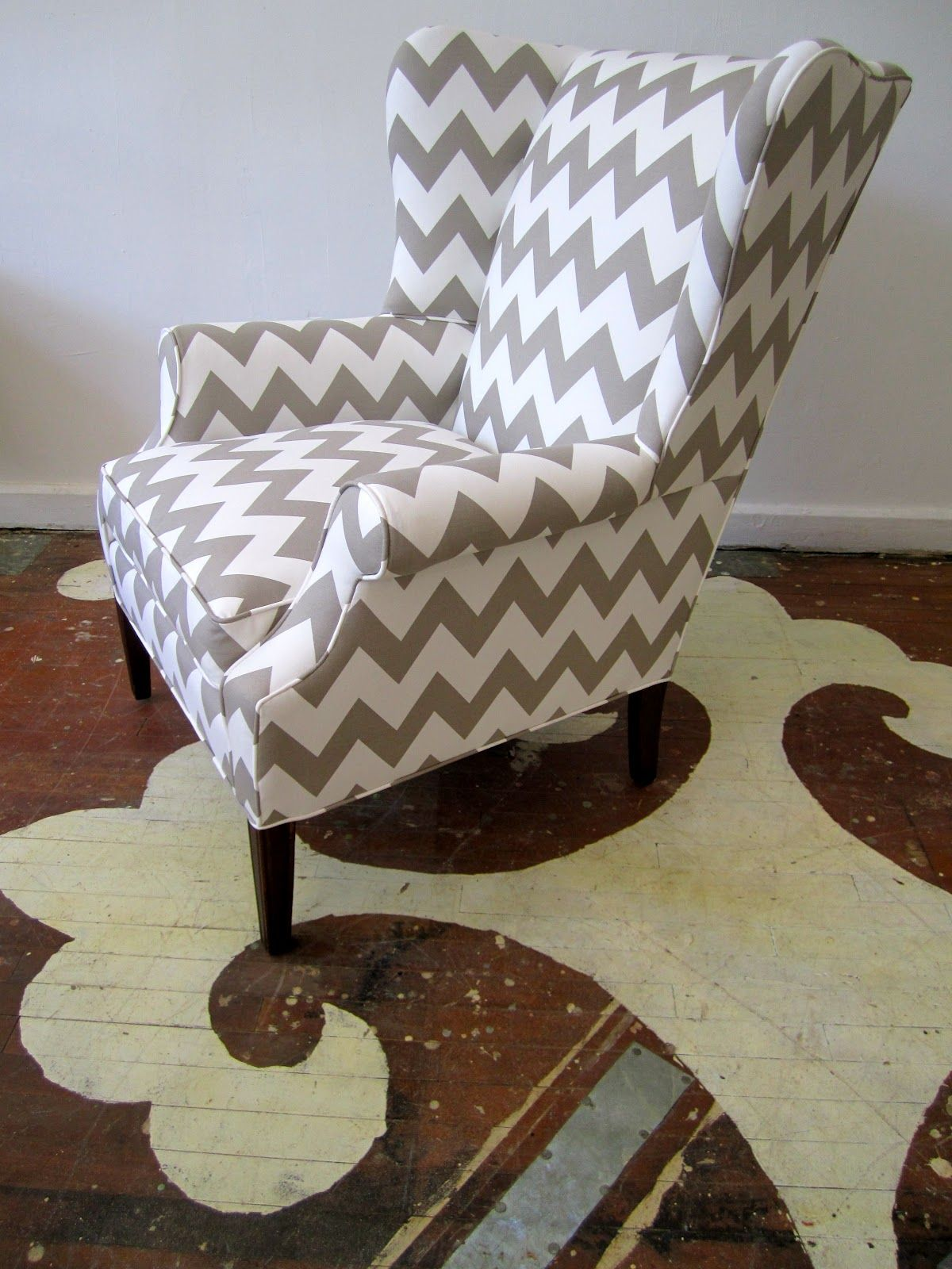 Chevron wing chairs - Modern Chevron Fabric On Traditional Wing Chair