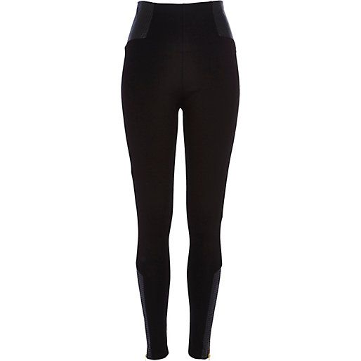 Black zip hem leather-look panel leggings