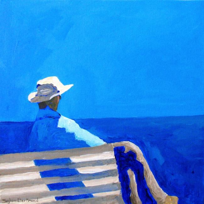 DEVANT LA MER , HOMME AU CHAPEAU SUR UN BANC - Painting, 30x30 Sylvie Bertrand -
