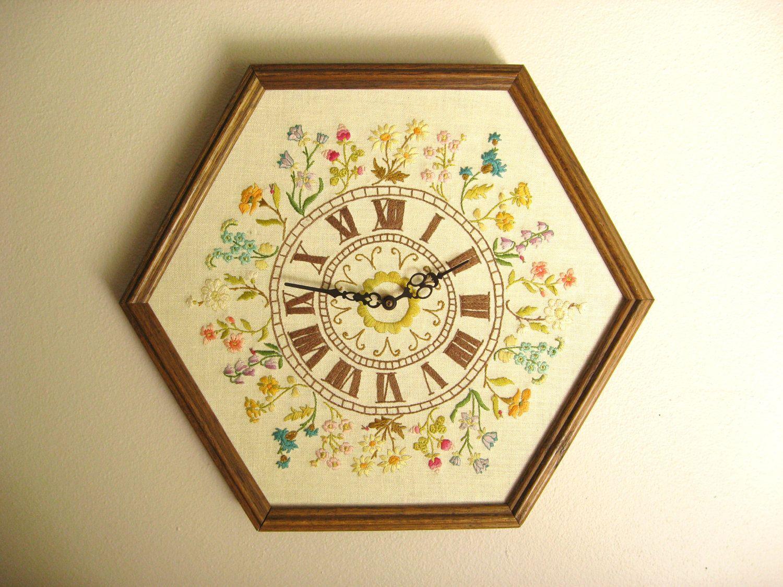 Vintage Floral Embroidered Clock, Large Embroidery Clock, Oak Frame ...