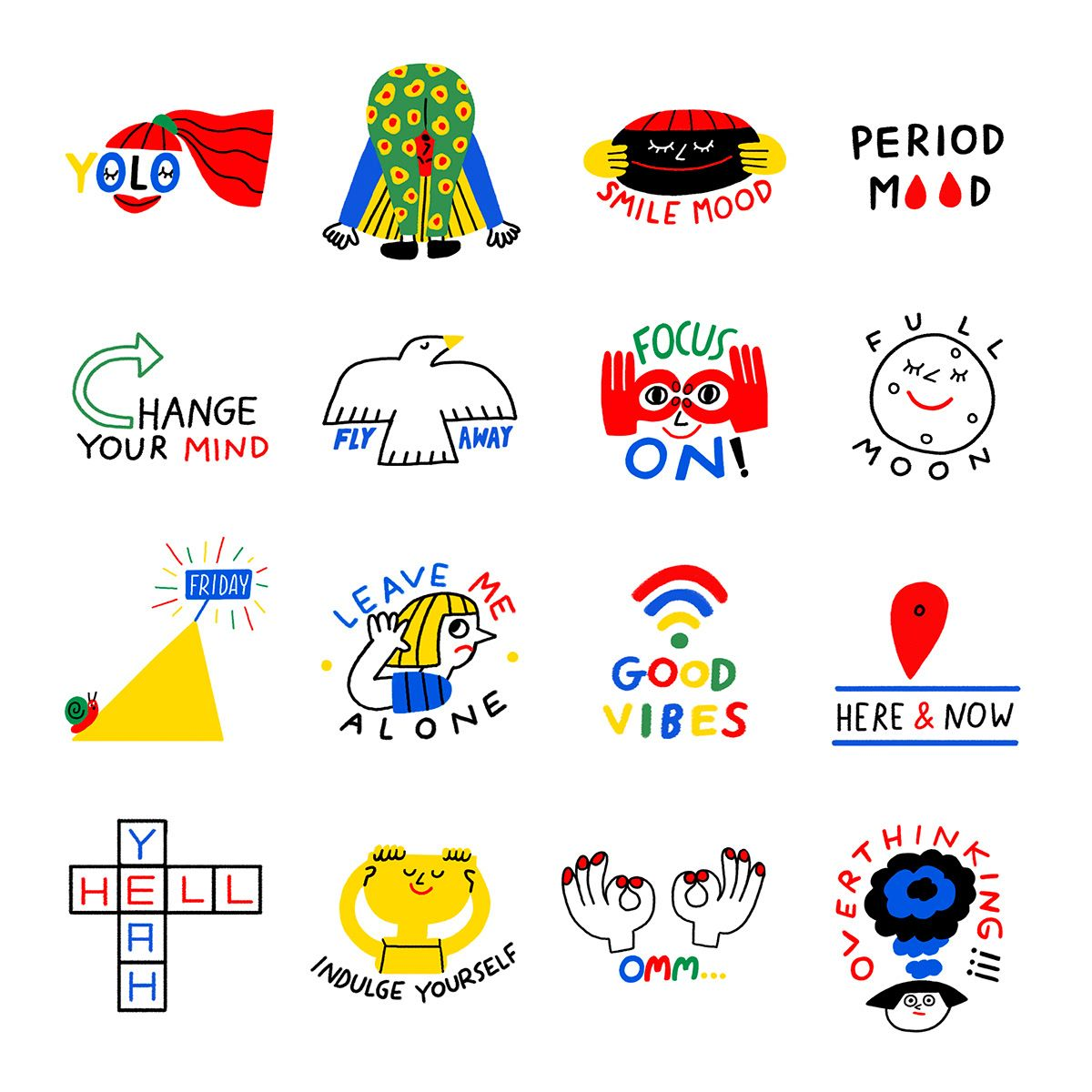 Snapchat Stickers, USA on Behance in 2020 Snapchat