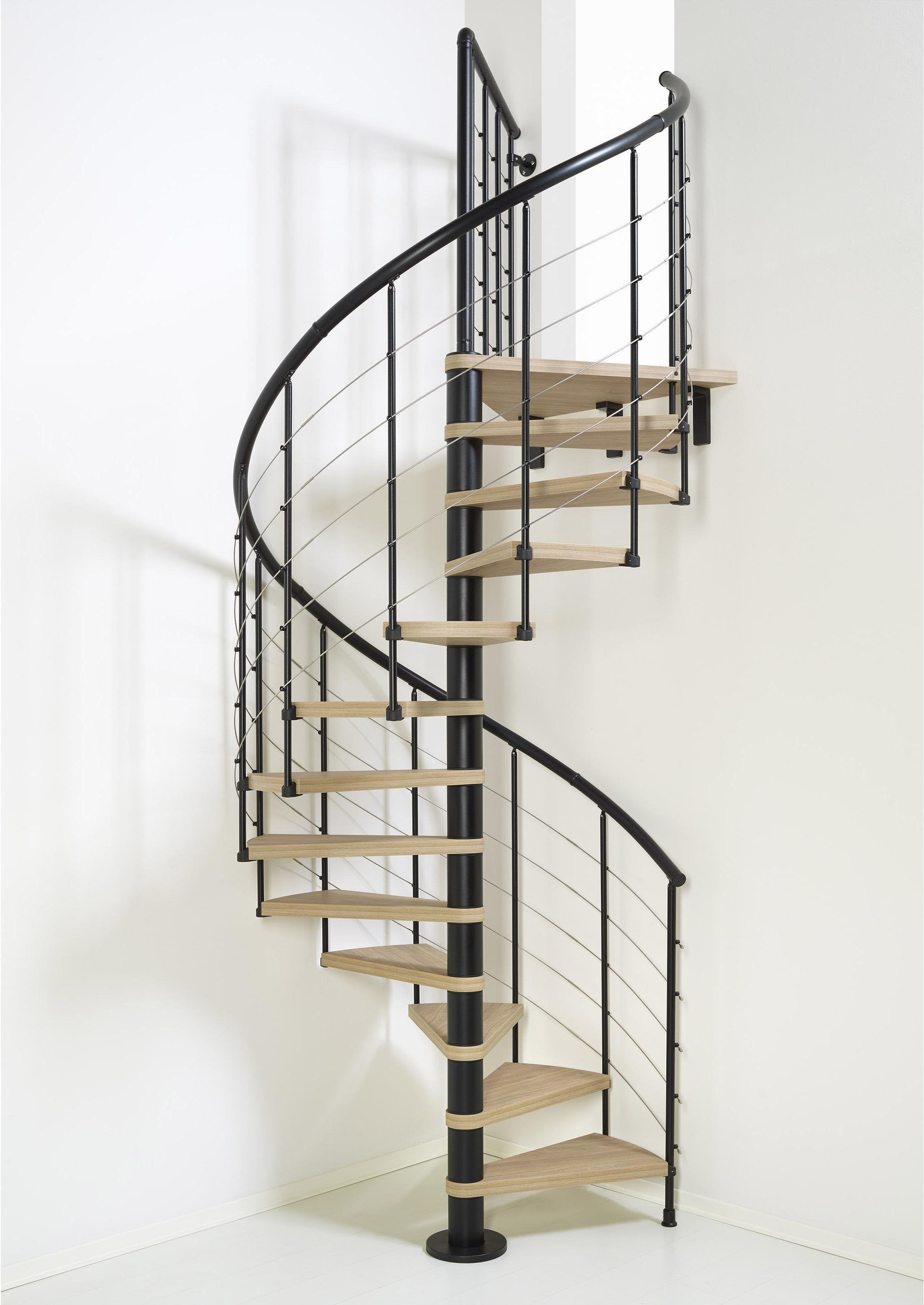 Escalier Colimacon Rond Revers Acier Noir Ring Tube 12 Mar Orme Clair 128 Cm Pixima Escalier En Colimacon Escaliers Ronds Escalier