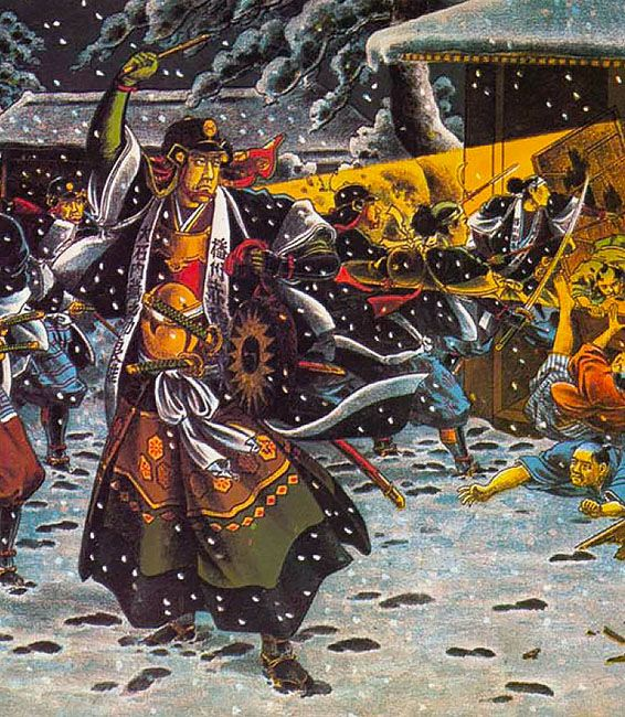 """Most of what is popularly known about the Raid of the Forty-Seven Ronin derives not from history but from the theatre. In this romantic painting from early in the 20th century, we see Oishi Kuranosuke banging a drum as a signal to start the raid. This is essentially a scene from Chushingura, although the setting in snow-covered Edo is undoubtedly authentic"""